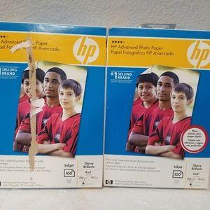 Lot 2 HP Advanced 4 X 6 Gloss Photo Paper Inkjet